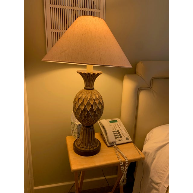 Shabby Chic Beige and Brown Carved Wooden Table Lamps - a Pair For Sale - Image 3 of 12