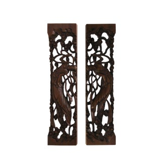Chinese Pair Natural Wood Relief Carving Rectangular Paperweights For Sale