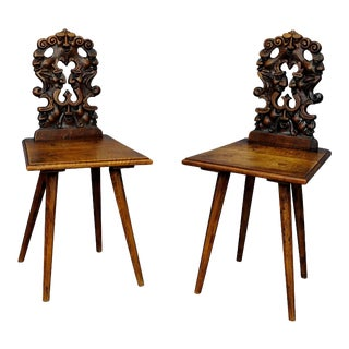 A Pair Renaissance Style Carved Children Chairs Ca. 1890 For Sale