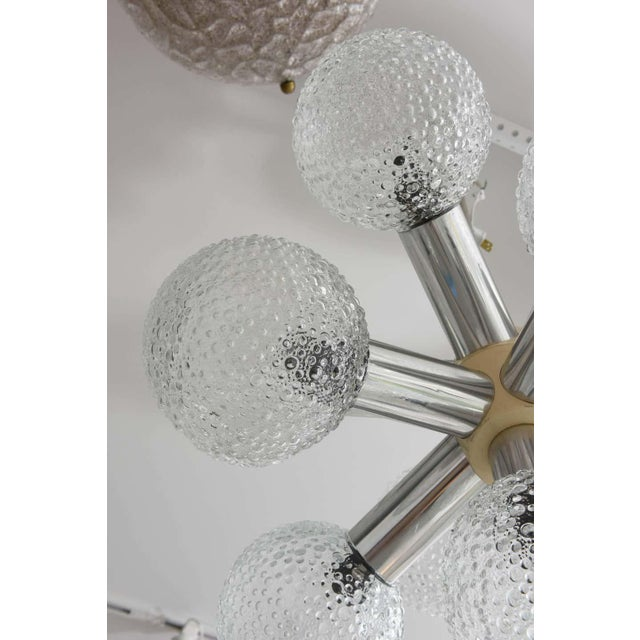 1960s Polished Chrome and Bubble Glass Chandelier Modified Space-Age Style For Sale - Image 5 of 11