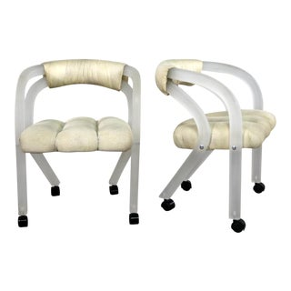 Frosted Lucite Rolling Chairs Style of Charles Hollis Jones for the Pace Collection a Pair