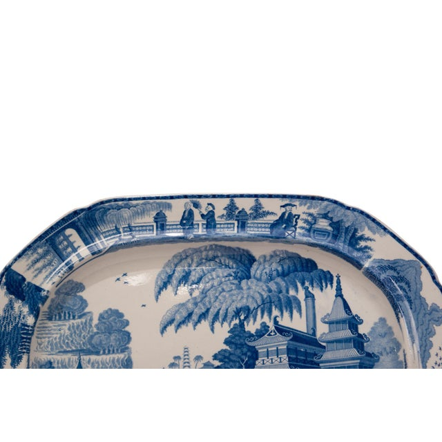 Early 19th Century Large 1820s Chinese Blue and White Porcelain Platter For Sale - Image 5 of 8