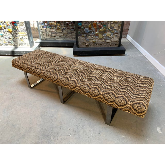 Contemporary Modern Kravet Missoni Flame-Stitch and Chrome Bench For Sale - Image 3 of 11