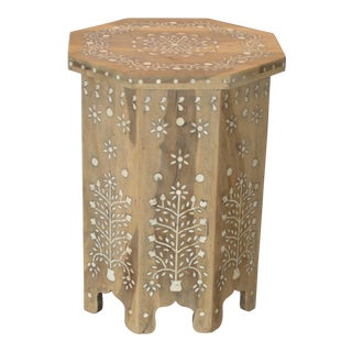 Anglo Indian Wood and Bone Side Table For Sale