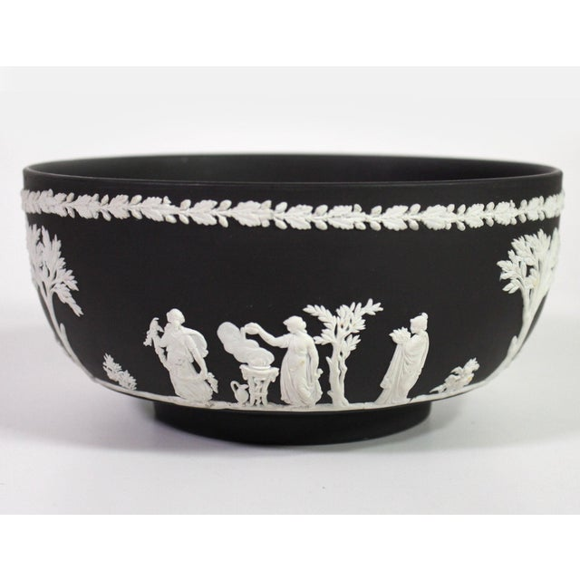 "1940s Neoclassical Greek Figurative Wedgwood Jasperware Black ""Sacrifice Bowl"" For Sale - Image 10 of 10"