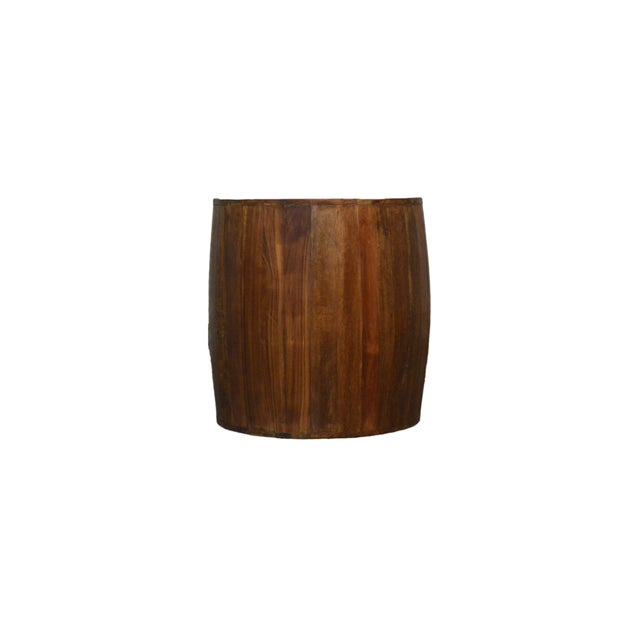 Contemporary Reclaimed Wood Drum Barrel Side Table For Sale - Image 3 of 3