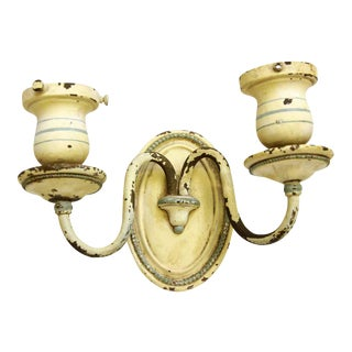 Shabby Chic Brass Beaded Double Arm Sconce