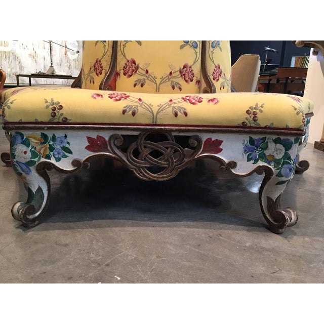 Exceedingly Rare Pair of Upholstered and Handpainted Sicilian Late 18th Century For Sale - Image 4 of 8