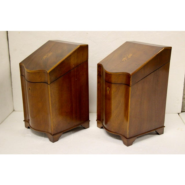 English Traditional English Inlaid Cutlery Boxes, Pair For Sale - Image 3 of 6