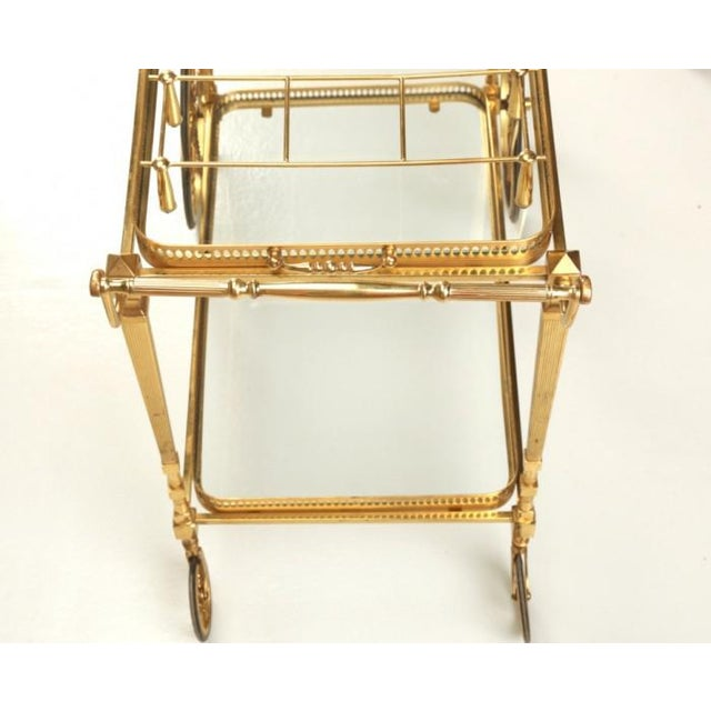 French Vintage French Brass Bar Cart With Tray For Sale - Image 3 of 11