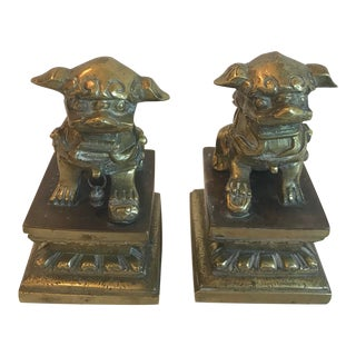 Vintage Brass Foo Dog Book Ends - a Pair For Sale