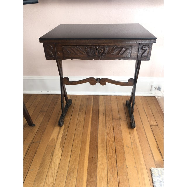 Brown Antique English Carved Oak End Table With Crown and Black Glass Top For Sale - Image 8 of 11