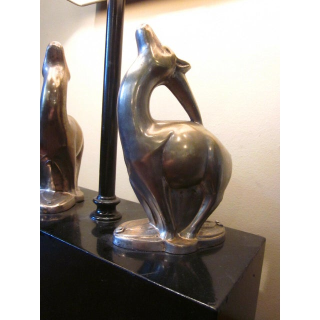 1920s Vintage 1920s Art Deco Black and Chrome Figural Table Lamp Gazelles Antelope Chrome Animal Figures With Geometric Black Base and Shade For Sale - Image 4 of 9