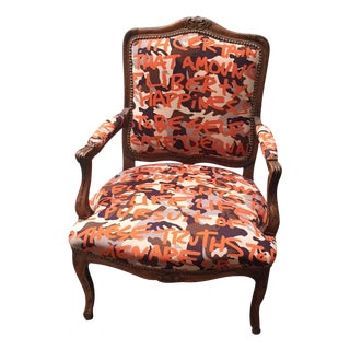 French Bergere Chair in Knoll Fabric