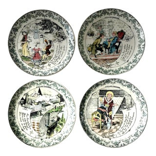 """19th C. """"Vieilles Chansons"""" French Creil Transferware Plates - Set of 4 For Sale"""
