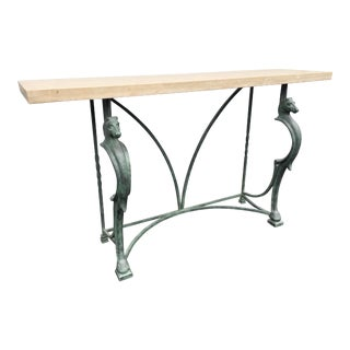 Maison Janson Style Horse Motif Iron Base and Travertine Console Table For Sale
