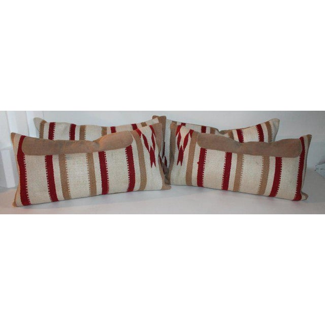 Navajo Navajo Indian Weaving Saddle Blanket Pillows - A Pair For Sale - Image 3 of 10