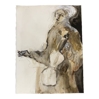 Contemporary Abstract Figurative Ink Wash Painting on Paper by Phil Saxon For Sale