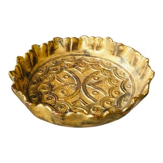 Italian Gilded Terra Cotta Charger With Embossed Pattern For Sale