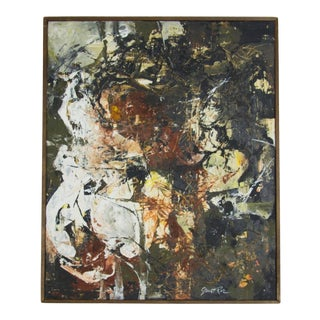 Vintage Abstract Mixed Media Oil Painting by Janet Rae For Sale