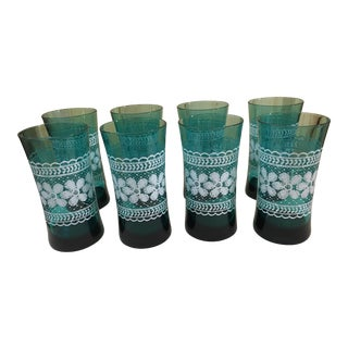Aquamarine Flower Motif Glasses - Set of 8 For Sale