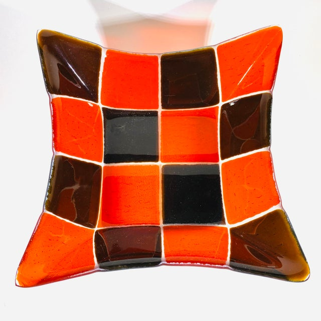 Mid Century Modern Fused Art Glass Square Bowl Red and Chocolate Brown Very cool bowl. Great for snack or just to accent...