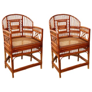 Pair of Vintage Bamboo Chippendale Armchairs For Sale