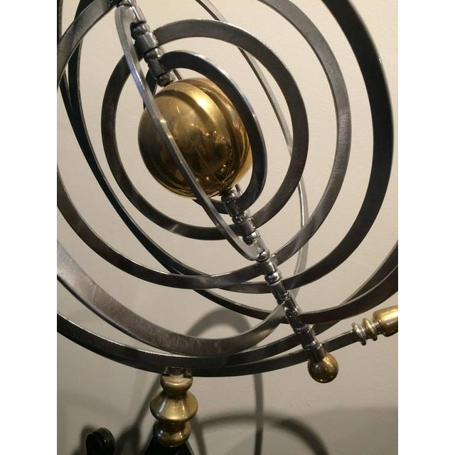 Chrome and Brass Armillary With Teak and Iron Base For Sale In Nantucket - Image 6 of 7