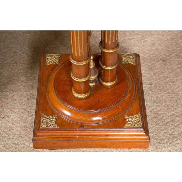 Regency Style Mahogany Column Pedestals Square Marble Tops Brass Accents - a Pair For Sale - Image 5 of 8