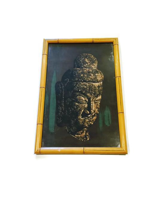 Mid Century Batik Buddha Zen Wall Art Hanging   Image 5 Of 6