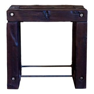 "Japanese Yakisugi Wood Parsons Stool / Side Table 20"" For Sale"