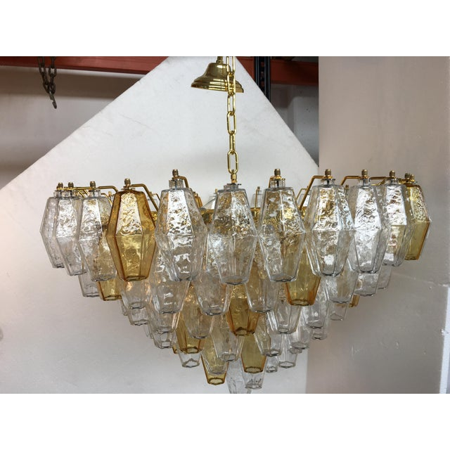 Orange Chandelier Murano Glass Poliedro Transparent and Gold and Amber For Sale - Image 8 of 13