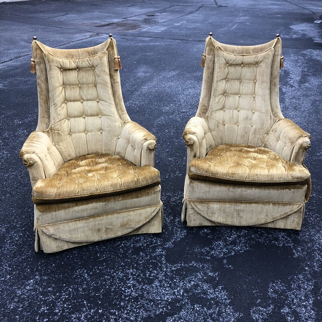 1970s Vintage Hollywood Regency Style Velvet Tufted Tassel Club Chairs - A Pair For Sale - Image 13 of 13
