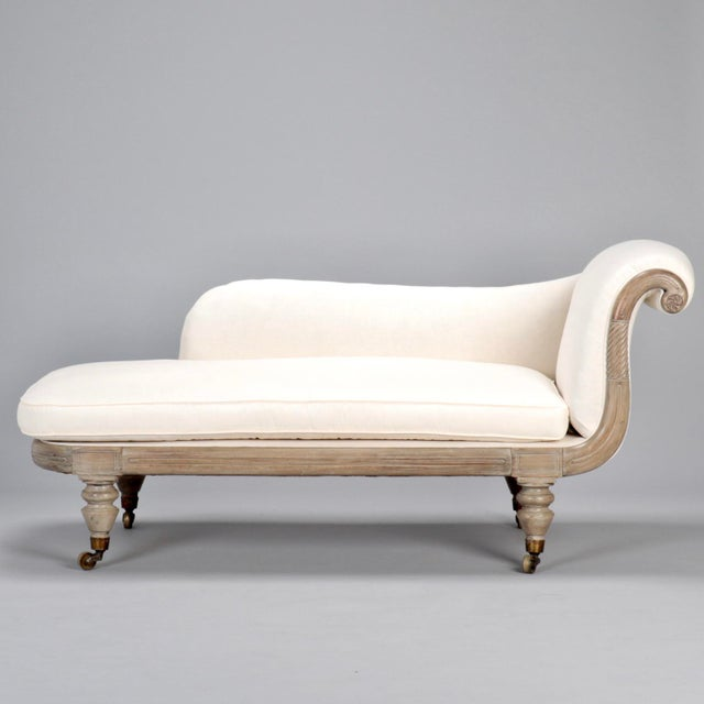 French Chaise Longue with Bleached Wood Frame - Image 3 of 11
