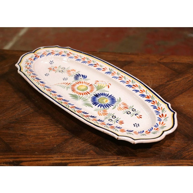 Ceramic Mid-20th Century French Hand Painted Faience Fish Platter Quimper Style For Sale - Image 7 of 7
