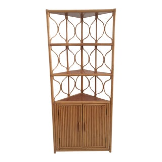1970s Vintage Boho Chic Pencil Reed Rattan Corner Cabinet For Sale