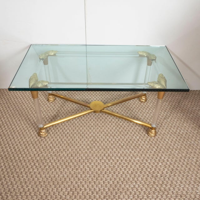 Brass and Glass Python Cocktail Table For Sale - Image 4 of 10
