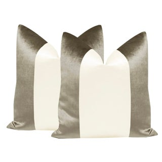 "22"" Quartz Velvet & Alabaster Silk Panel Pillows - a Pair For Sale"