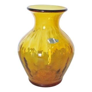 Blenko Amber Mid Century Vase For Sale