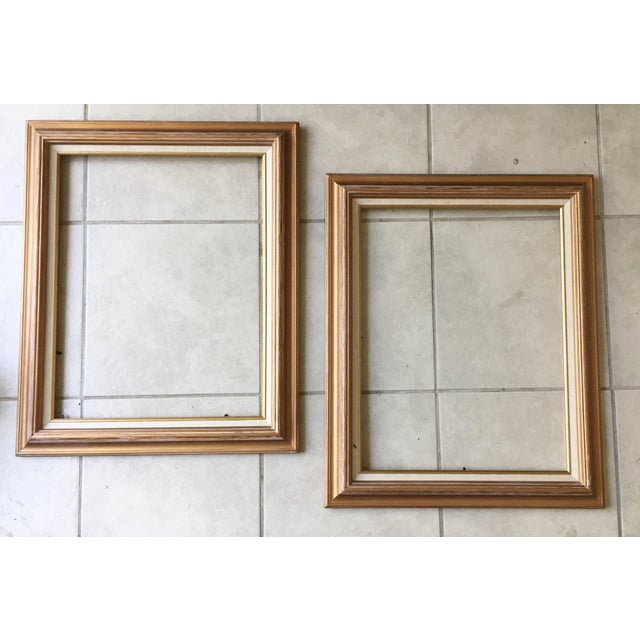 Contemporary Gold Wood Linen Matted Frames - a Pair | Chairish