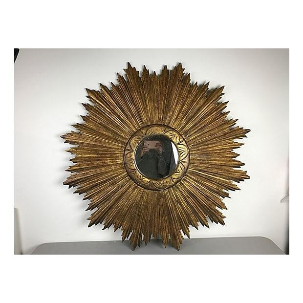 French Wood Sunburst Mirror - Image 2 of 4
