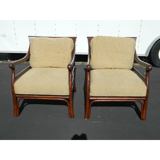Palecek Colonialwood Club Chairs - A Pair - Image 2 of 11