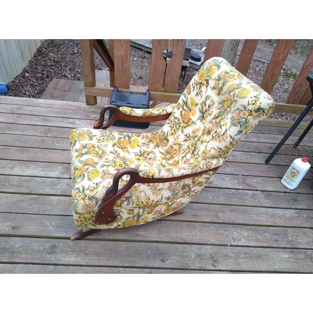 American Vintage Gooseneck Platform Rocking Chair For Sale - Image 3 of 5