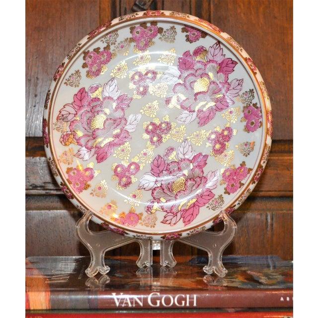 Pink and Gold Imari Japanese Porcelain Platter For Sale - Image 5 of 8