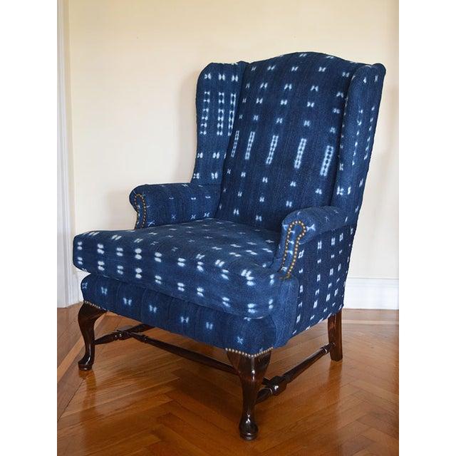 Indigo Mali Mudcloth Wingback Chair - Image 3 of 9