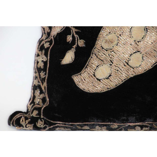 Black Velvet Throw Pillow Embroidered with Metallic Moorish Gold Threads For Sale - Image 10 of 11