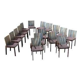 """1940s Vintage French Art Deco """"Stripes Vertical'' Dining Chairs - Set of 16 For Sale"""