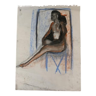 "Rita Shulak ""Sitting Black Woman"" Sketch For Sale"