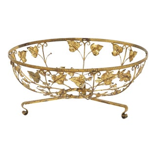 Vintage French Gilded Tole Coffee Table With Leaf Design For Sale