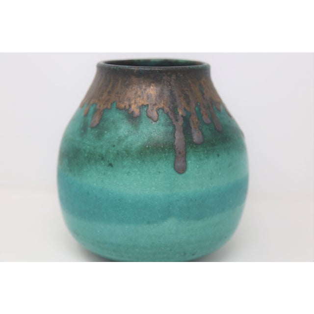 Beautiful drip-glazed teal pot. A beautiful tabletop styling piece!